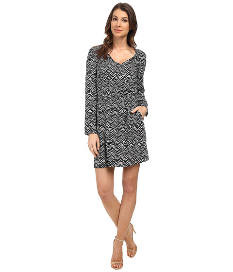 Splendid - Plume Print Wrap Dress (Black) Women's Dress