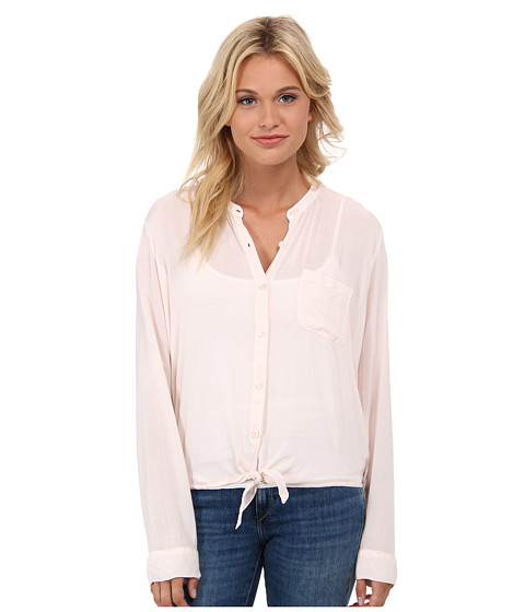 Splendid - Rayon Voile Tie Front Top (Porcelain Rose) Women