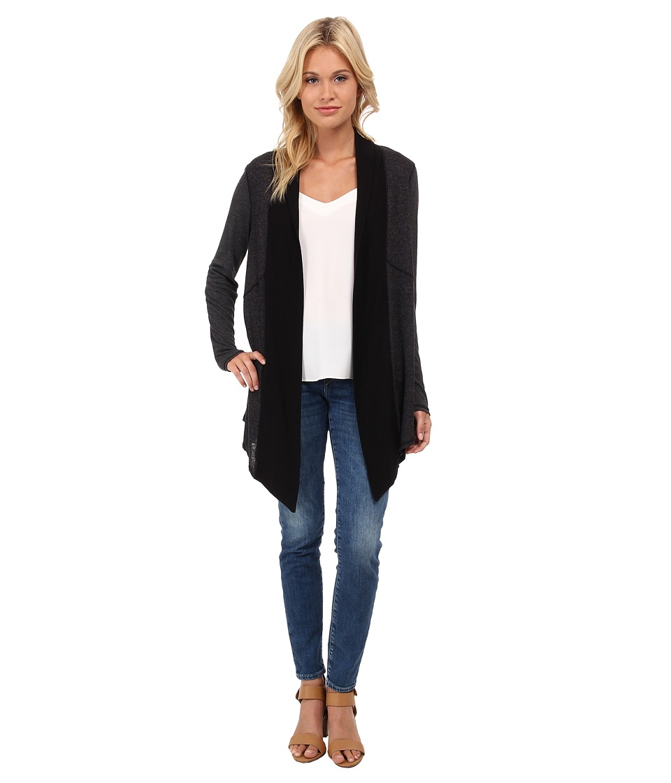 Splendid - Heathered Thermal Cardigan (Black) Women