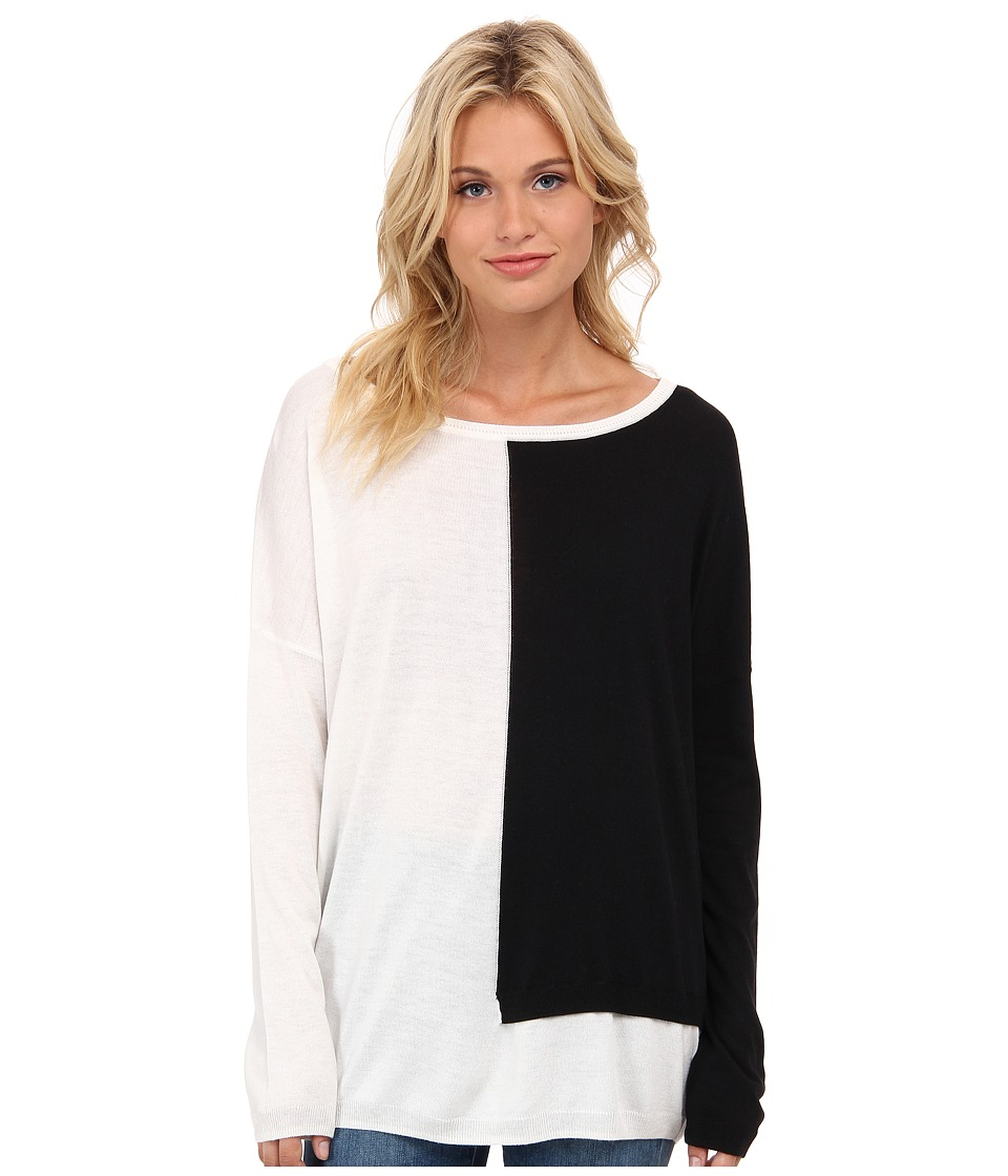 Splendid - Placed Blocked Sweater (White/Black) Women's Sweater
