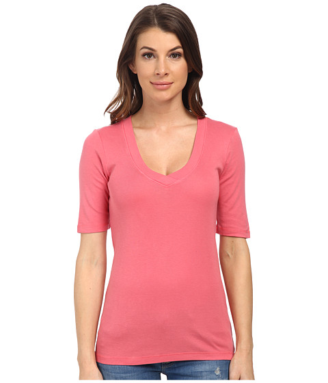 Splendid - 1x1 Half Sleeve V-Neck Top (Desert Rose) Women
