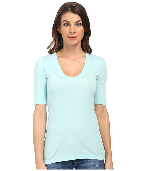 Splendid - 1x1 Half Sleeve V-Neck Top (Aruba Blue) Women