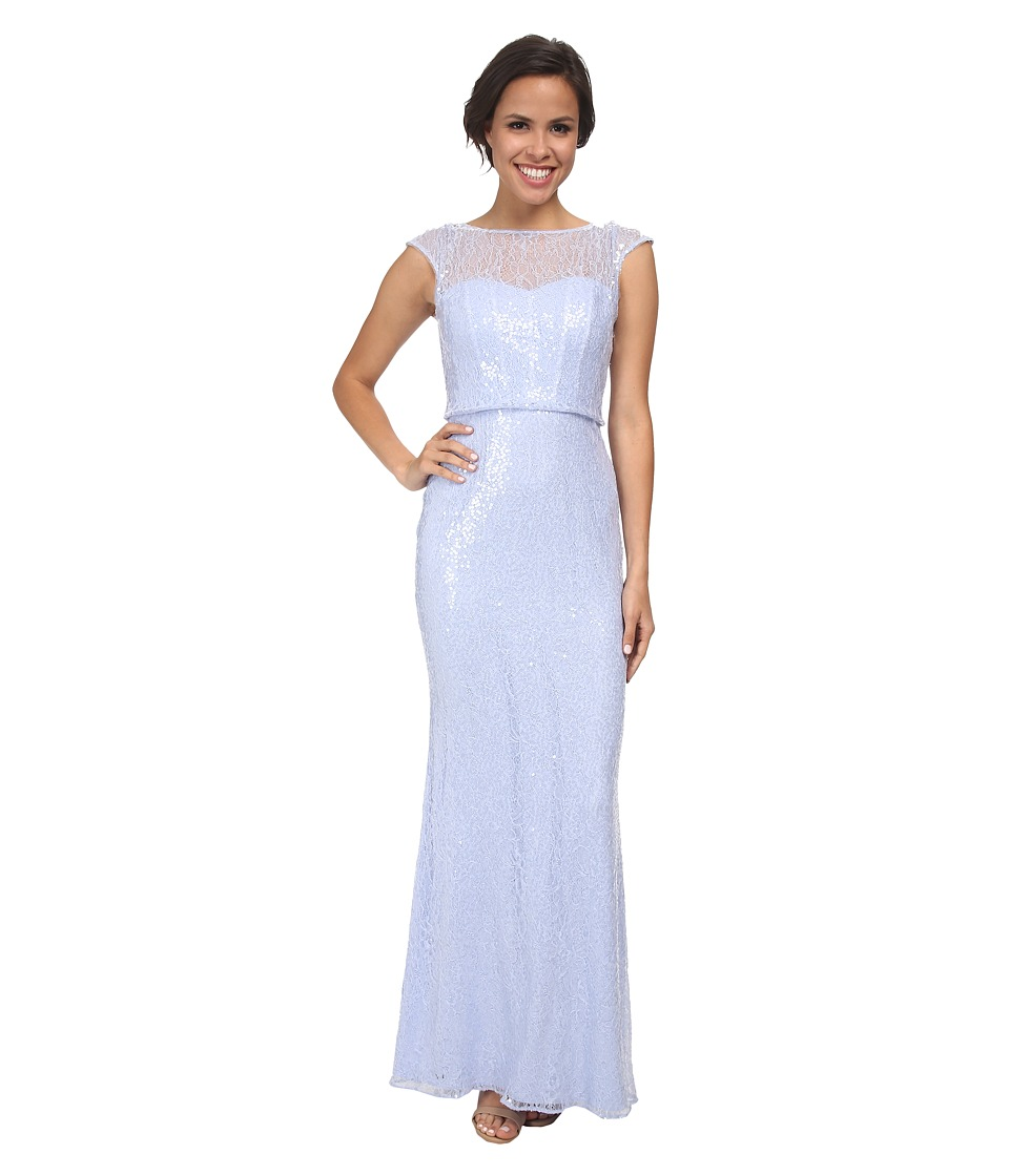 Badgley Mischka - Sequined Lace Gown (Lilac) Women's Dress