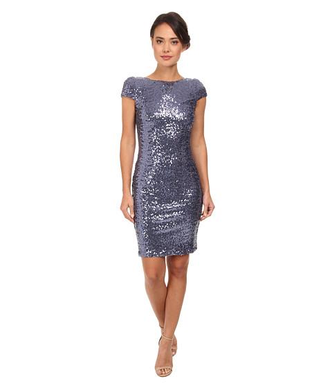 Badgley Mischka - Cap Sleeve Cowl Back Cocktail Dress (Blue Grey) Women's Dress