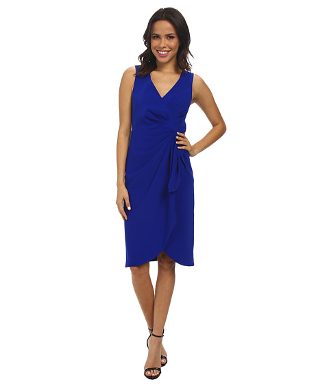 Badgley Mischka - V-Neck Draped Stretch Crepe Cocktail Dress (Cobalt) Women