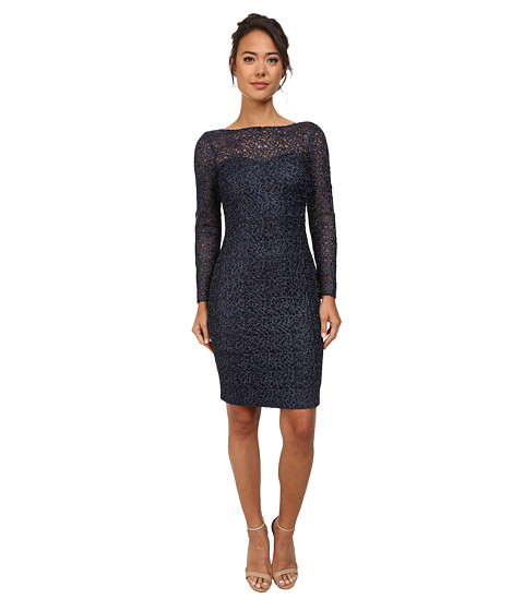 Badgley Mischka - Long Sleeve Lace Cocktail Dress (Navy) Women's Dress