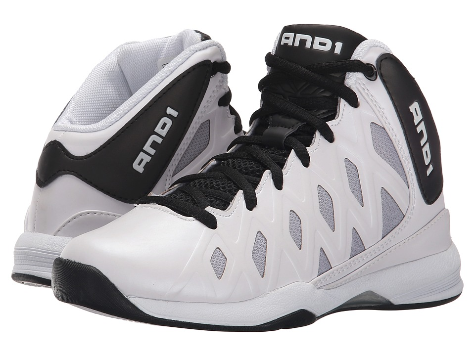 AND1 Kids - Unbreakable (Little Kid/Big Kid) (White/Black/White) Boys Shoes