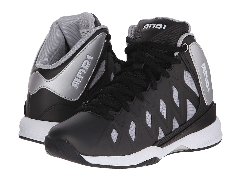 AND1 Kids - Unbreakable (Little Kid/Big Kid) (Black/Silver/White) Boys Shoes