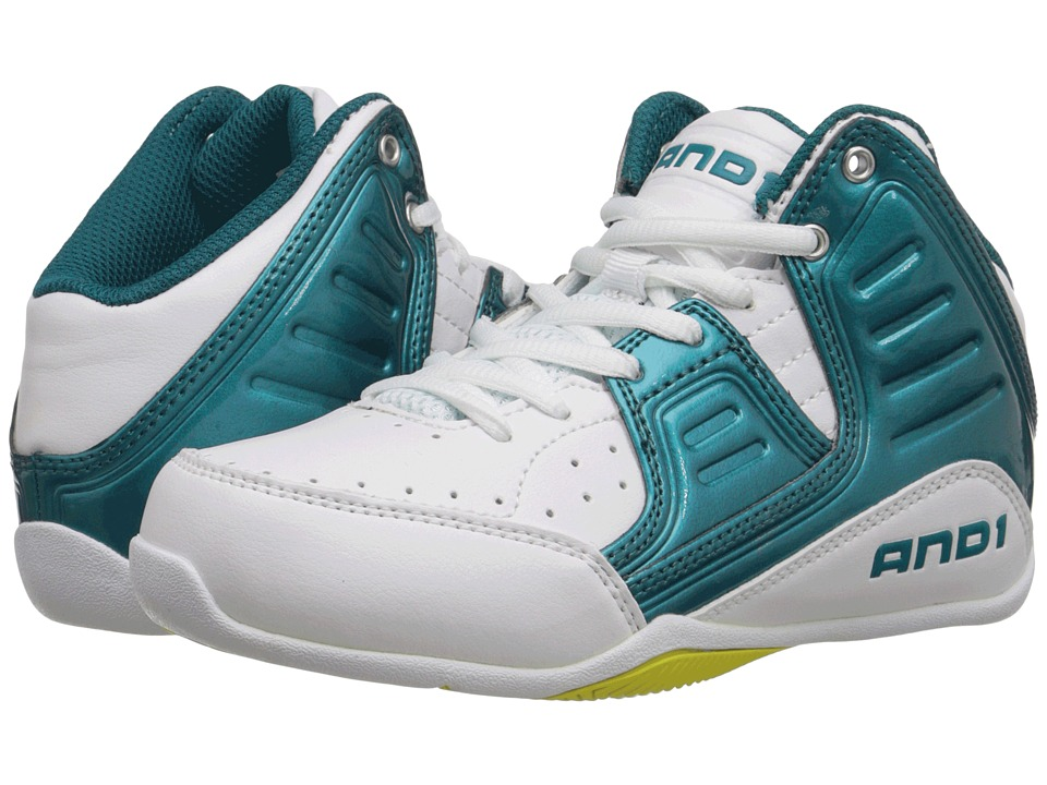 Image of AND1 Kids - Rocket 4 (Little Kid/Big Kid) (Blue Coral/Blazing Yellow/White) Boys Shoes