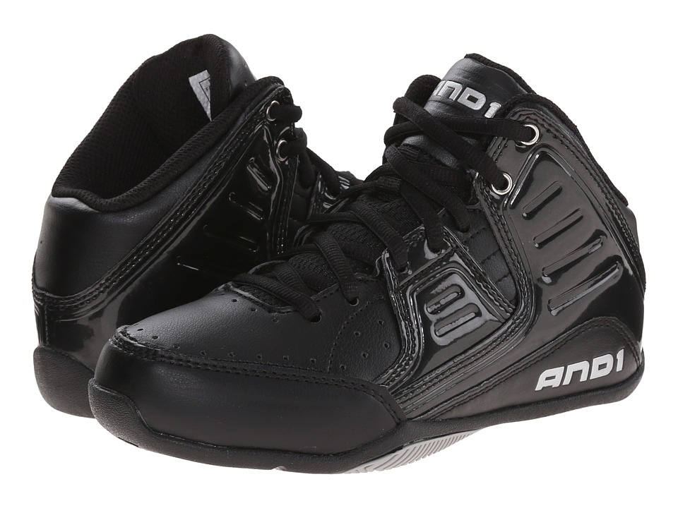 AND1 Kids - Rocket 4 (Little Kid/Big Kid) (Black/Black/Silver) Boys Shoes
