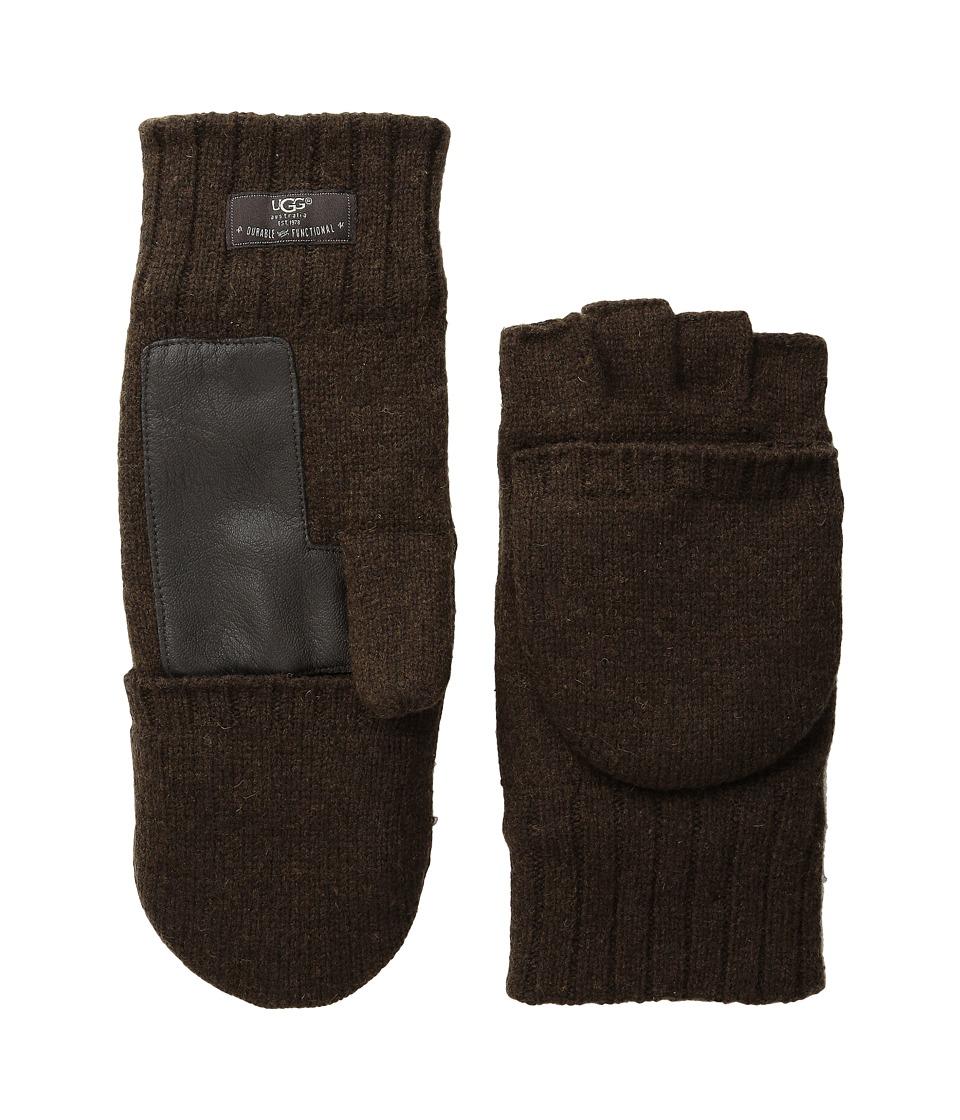 UGG - Calvert Fingerless Flip Mitt Glove with Leather Palm (Stout Heather) Dress Gloves