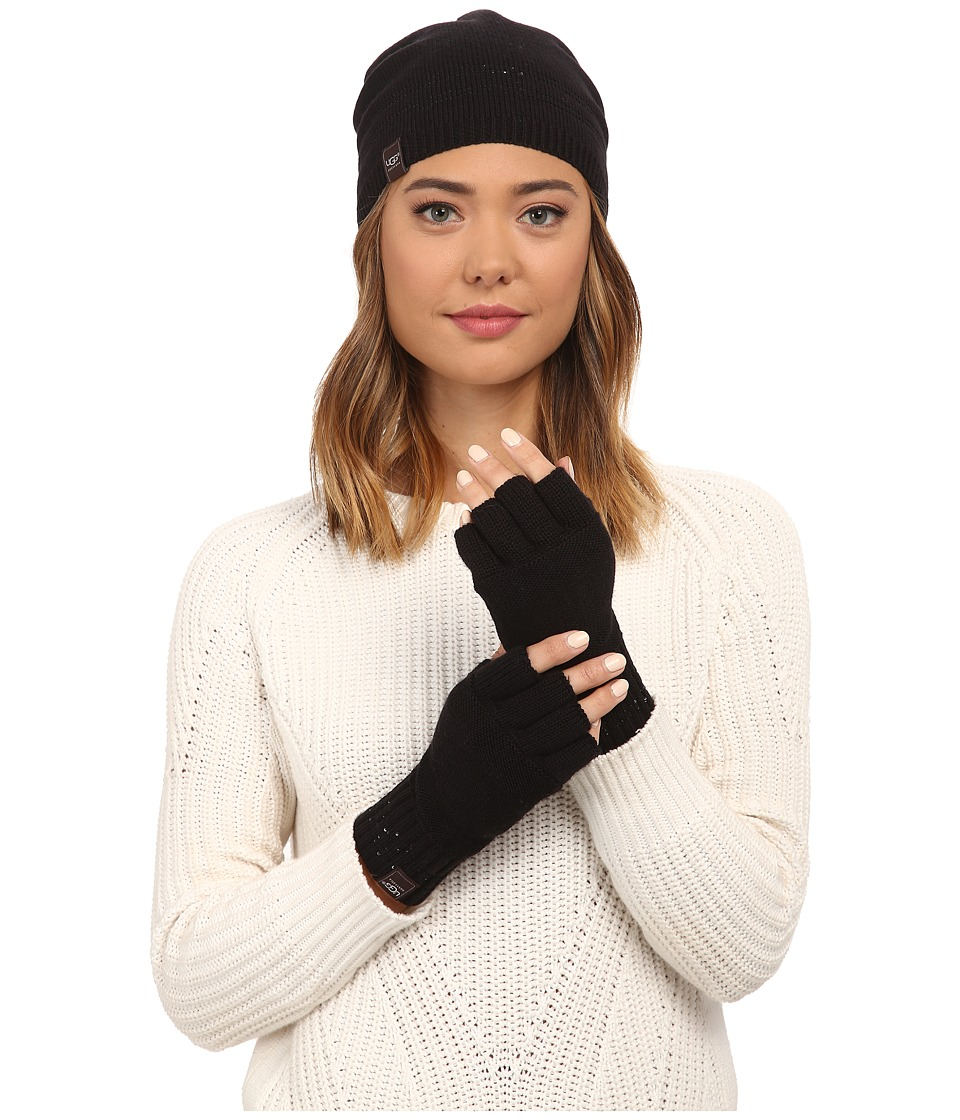 UGG - Classic Sequin Trimmed Beanie and Tech Fingerless Set (Black Multi) Beanies