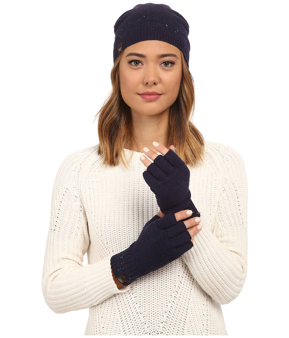 UGG - Classic Sequin Trimmed Beanie and Tech Fingerless Set (Peacoat Multi) Beanies