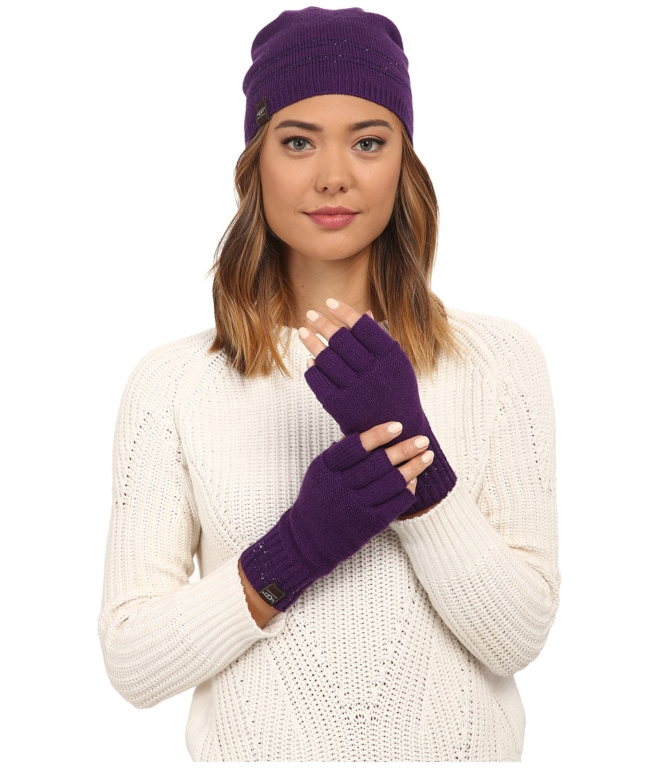 UGG - Classic Sequin Trimmed Beanie and Tech Fingerless Set (Bilberry Multi) Beanies