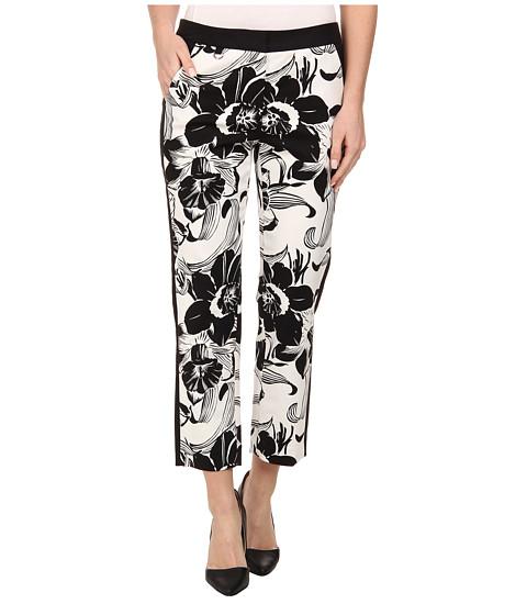 Adrianna Papell - Slim Pant w/ Tropical Motif (White/Black) Women