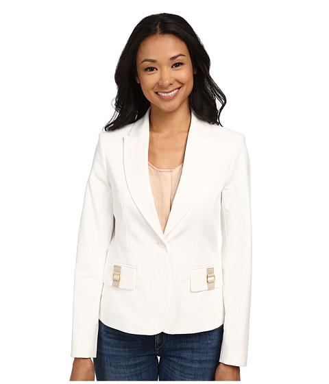 Calvin Klein - One-Button Jacket w/ Hardware (Soft White) Women