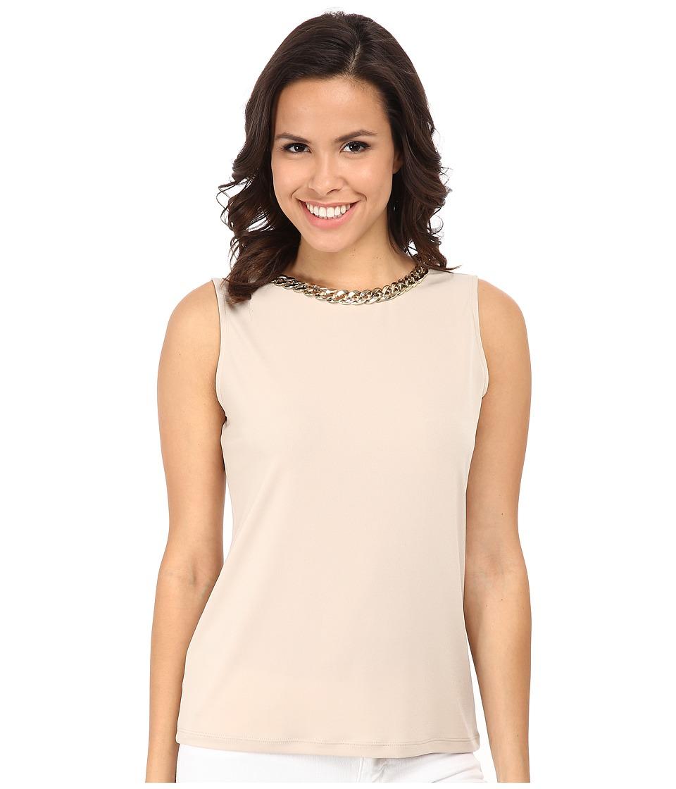 Calvin Klein - Sleeveless Top w/ Braid Chain (Latte) Women