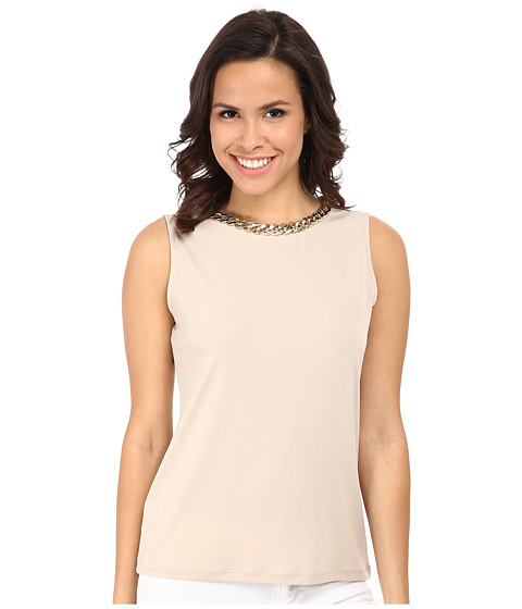 Calvin Klein - Sleeveless Top w/ Braid Chain (Latte) Women