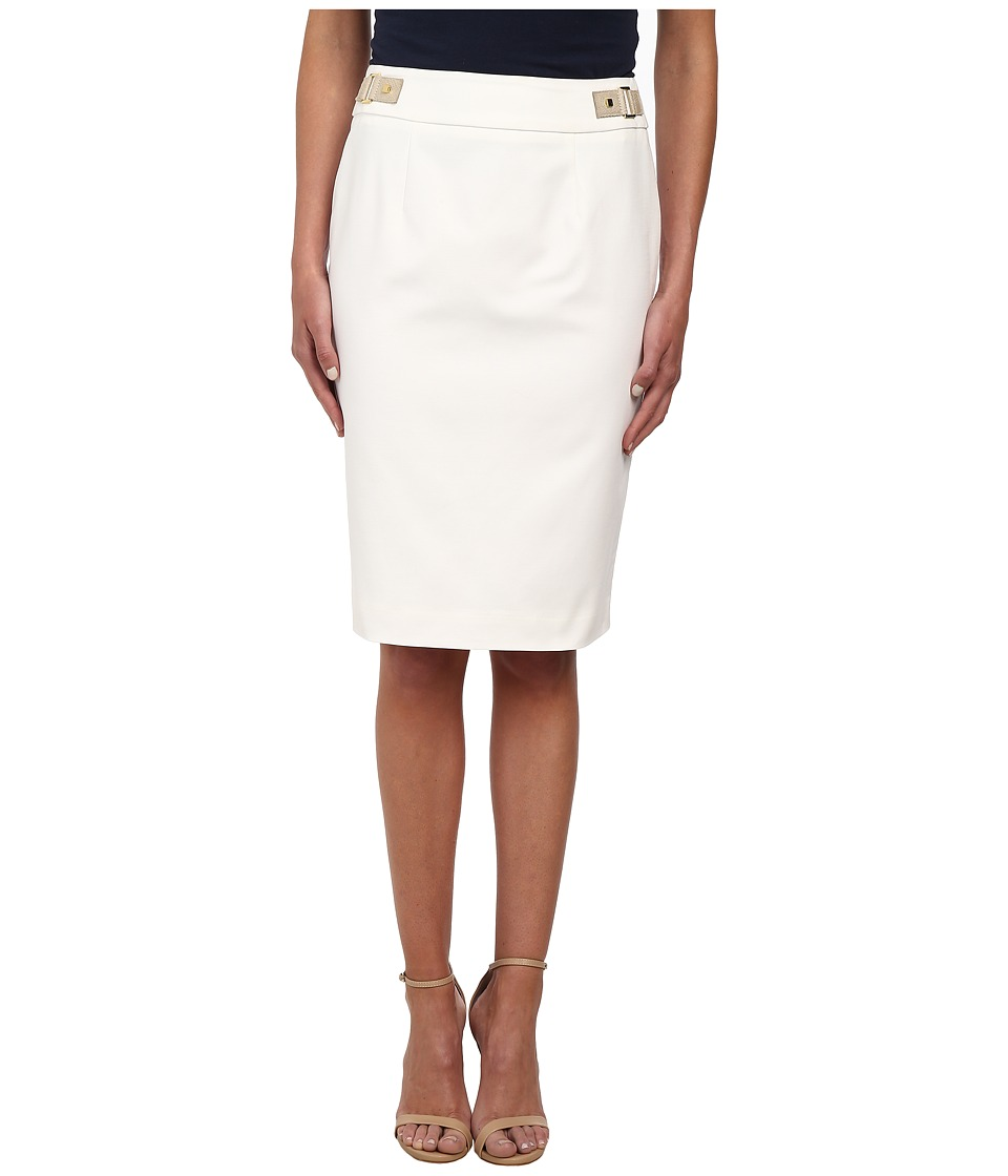 Calvin Klein - Pencil Skirt w/ Hardware (Soft White) Women's Skirt