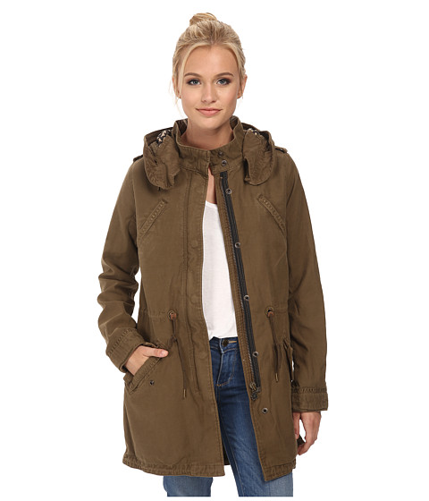 Maison Scotch - Garment Dyed Slub Cotton Parka w/ Printed Lining (Olive) Women's Coat