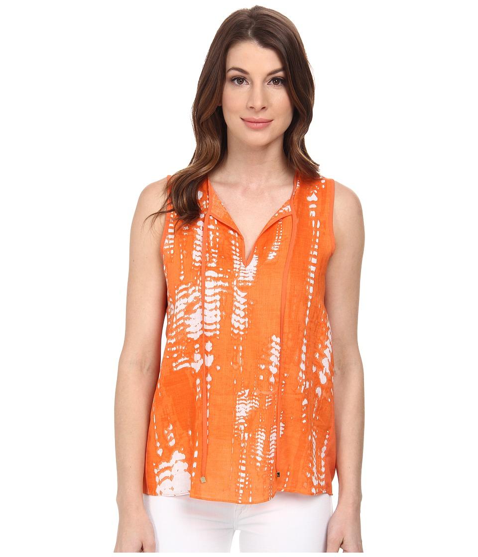 Calvin Klein - Sleeveless Linen Print w/ Woven Back (Ember Multi) Women's Sleeveless