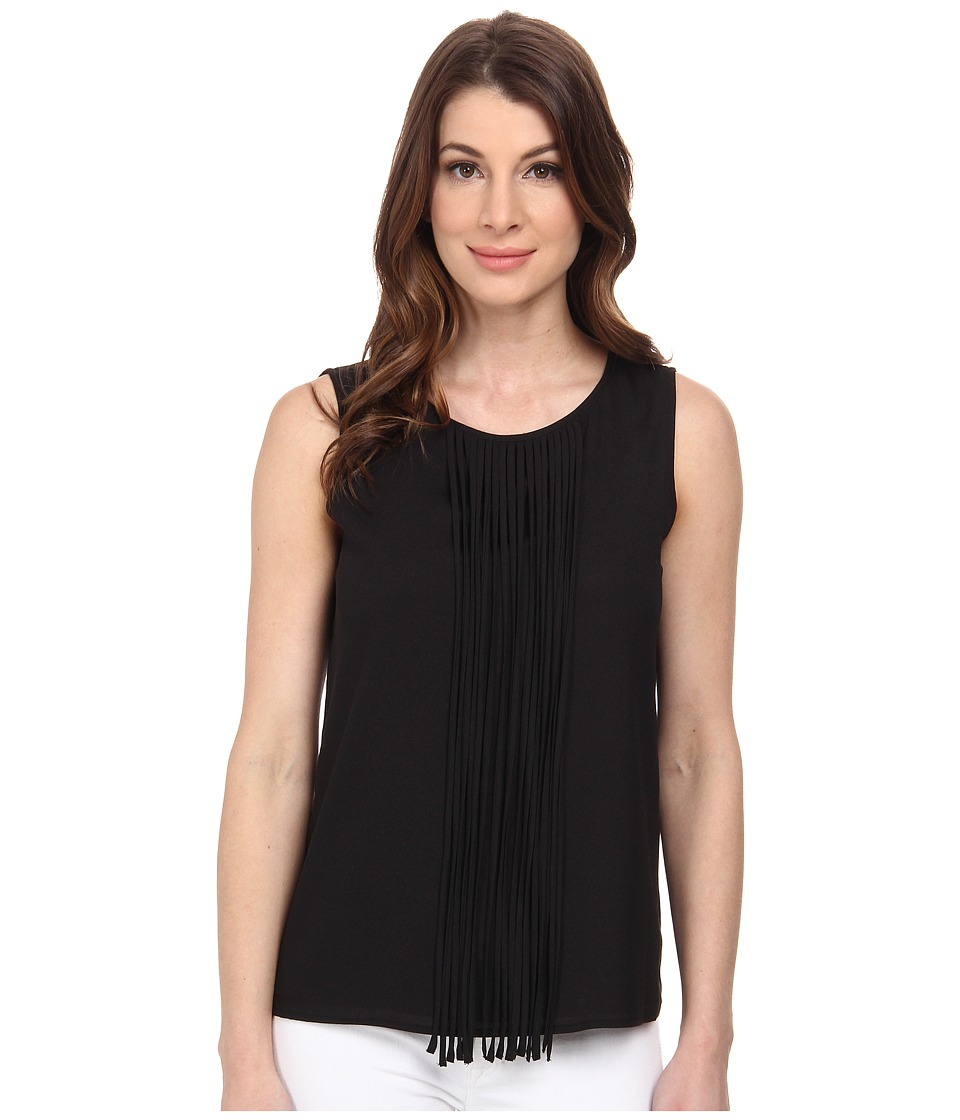 Calvin Klein - Sleeveless Woven Fringe Blouse (Black) Women