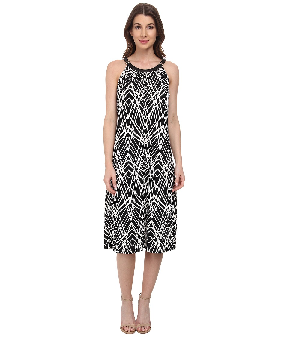 Calvin Klein - Print Halter Midi Dress (Black Crosshatch) Women's Dress