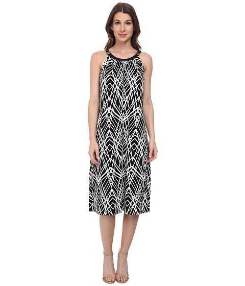 Calvin Klein - Print Halter Midi Dress (Black Crosshatch) Women