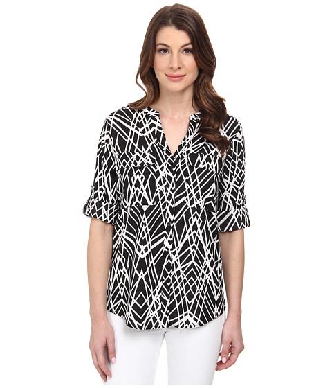 Calvin Klein - Printed Roll Sleeve (Black Crosshatch) Women's Blouse