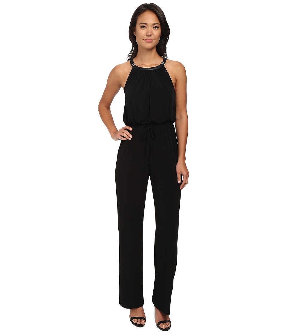 Calvin Klein - Solid Halter Jumpsuit w/ Buckle (Black) Women