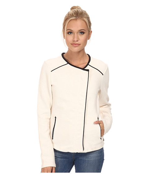 Maison Scotch - Sweat Biker Jacket w/ Faux Suede Piping Details (Cream) Women's Coat