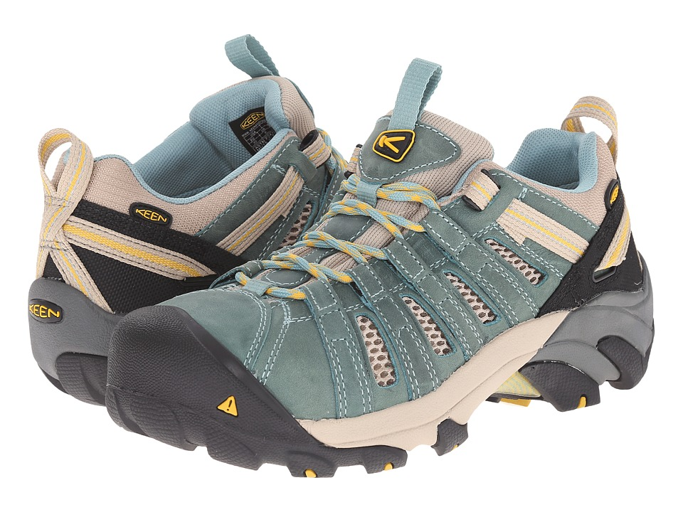 Keen Utility - Flint Low (Mineral Blue/Ceylon Yellow) Women's Work Lace-up Boots