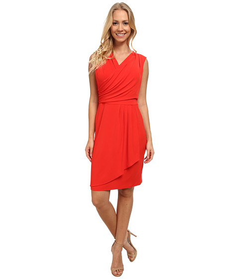 Calvin Klein - Wrap Dress w/ Side Buttons (Tango Red) Women