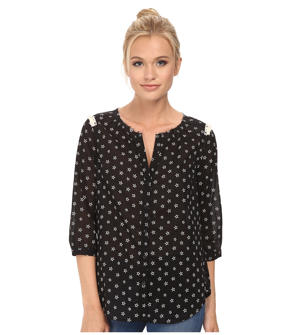 Maison Scotch - Cute Printed Tunic Top w/ Fringes and Star Studs (Black) Women