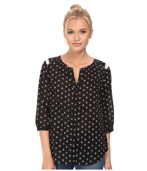 Maison Scotch - Cute Printed Tunic Top w/ Fringes and Star Studs (Black) Women's Blouse