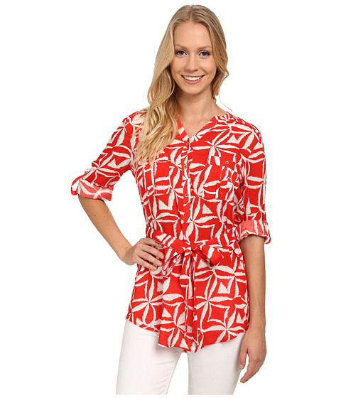 Calvin Klein - Tunic w/ Self Belt (Tango Multi) Women's Blouse