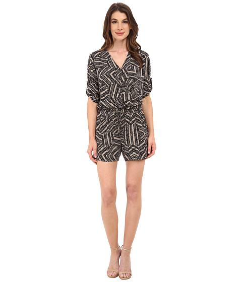 Calvin Klein - Long Sleeve Print Romper w/ Tie (Black Texture) Women's Jumpsuit & Rompers One Piece
