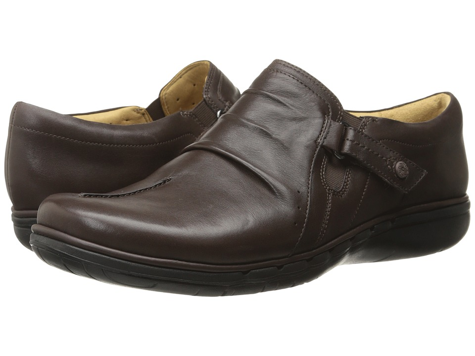 Clarks - Un Casey (Dark Brown Leather) Women's Shoes