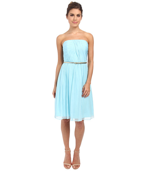 Donna Morgan - Donna Strapless Chiffon Dress w/ Belt (Gulfstream) Women