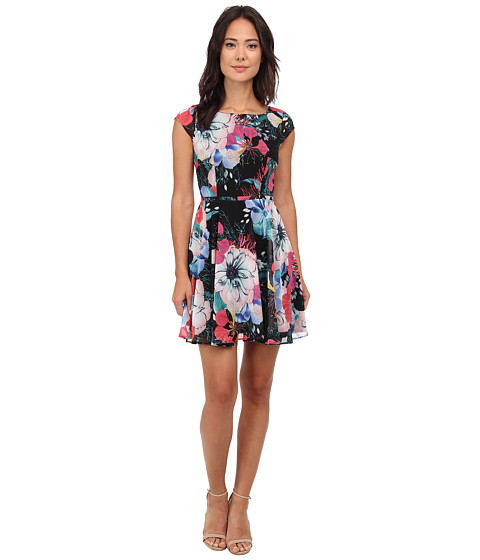 French Connection - Floral Reef Chiffon Dress (Black Multi) Women