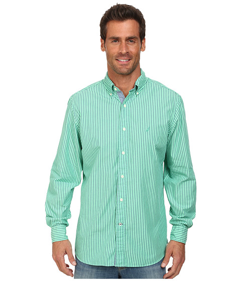 Nautica - Long Sleeve Stripe Poplin (Neptune Green) Men