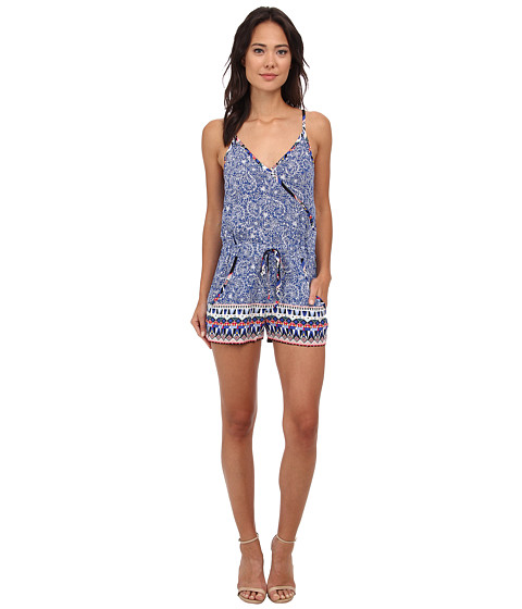 French Connection - Bali Batik Drape Romper (Electric Blue Multi) Women's Jumpsuit & Rompers One Piece