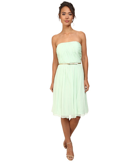 Donna Morgan - Donna Strapless Chiffon Dress w/ Belt (Candy Apple) Women's Dress
