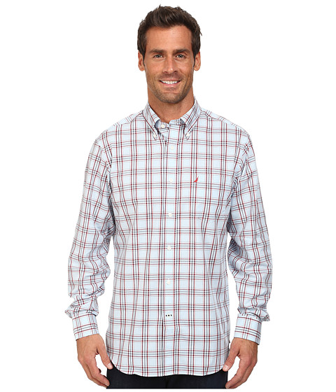Nautica - Long Sleeve Wrinkle Resistant Large Plaid (Marit Red) Men's Long Sleeve Button Up