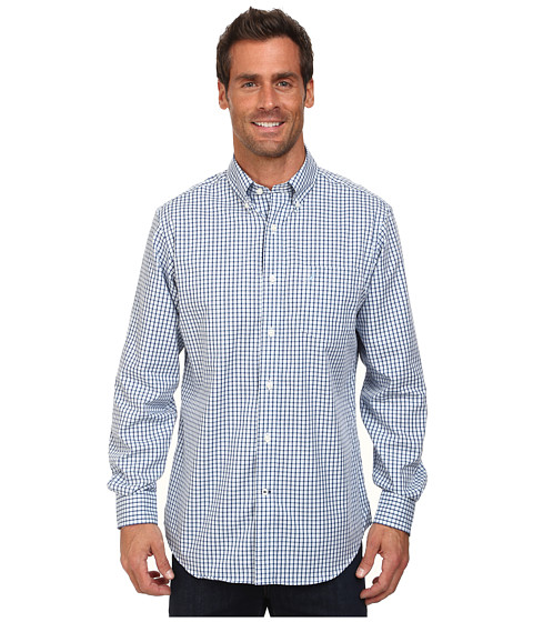 Nautica - Long Sleeve Wrinkle Resistant Mini Plaid (Porthole Blue) Men