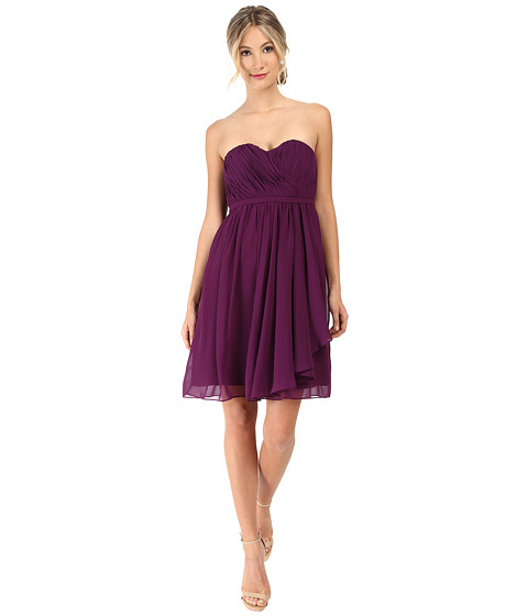 Donna Morgan - Lindsey Strapless Chiffon Dress (Grape) Women's Dress