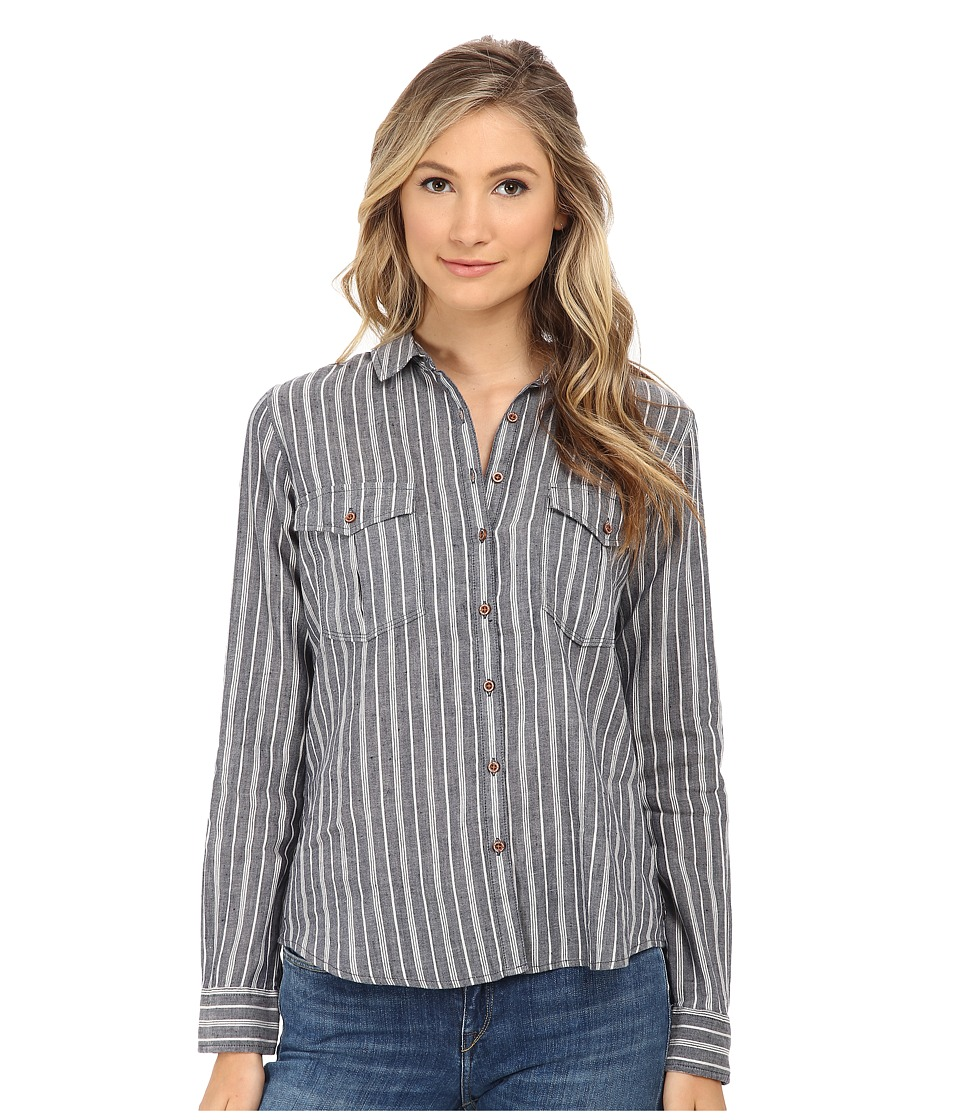 Maison Scotch - Cotton Linen Safari Inspired Shirt (Grey) Women's Long Sleeve Button Up