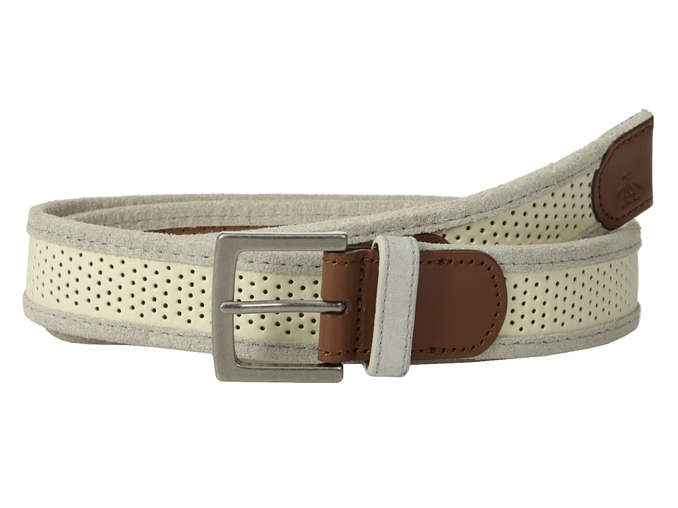 Original Penguin - Monte Leather Belt (White) Men's Belts