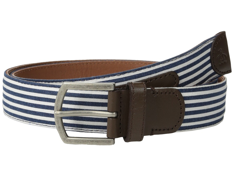 Original Penguin - Strauss Stripe Belt (Dress Blues) Men's Belts