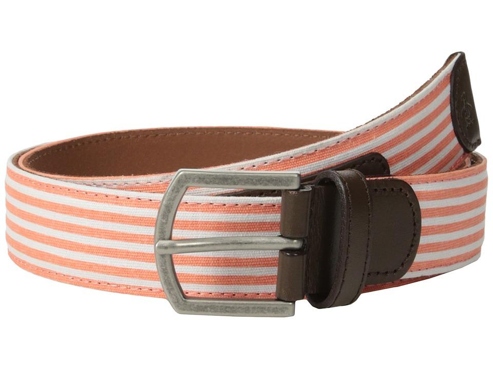 Original Penguin - Strauss Stripe Belt (Coral) Men's Belts